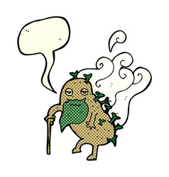 Cartoon old potato with speech bubble vector