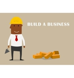 Happy businessman building a new business vector