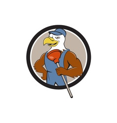 Bald eagle plumber plunger circle cartoon vector