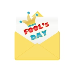 Fools day design envelope vector