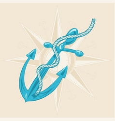 Anchor and ribbon on beige background vector