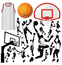 basketball and equipments vector image vector image