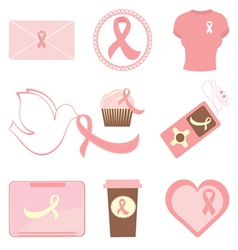 Breast cancer icons vector image vector image