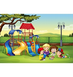 Children reading in the park vector