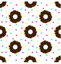 Chocolate donuts and colorful sprinkles vector