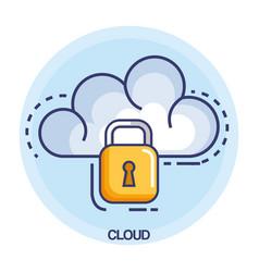 cloud computing set flat icons vector image