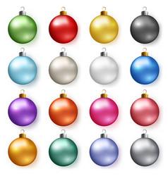 colorful glossy christmas balls with shadows set vector image