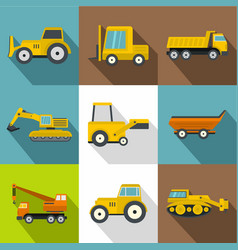 construction machinery icons set flat style vector image
