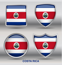 costa rica flag in 4 shapes collection vector image vector image