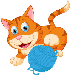 Cute cat playing with a ball vector
