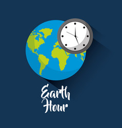 earth hour global world clock saving vector image