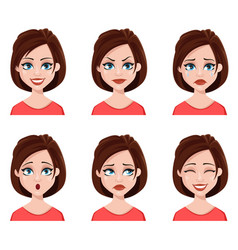 facial expressions of a cute woman vector image vector image