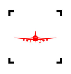 Flying plane sign front view red icon vector