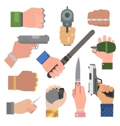 Hand firing with gun vector image vector image