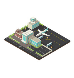 isometric airport exterior concept vector image