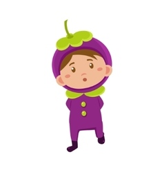 Kid in mangosteen costume vector