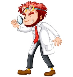 Mad scientist with magnifying glass vector image vector image