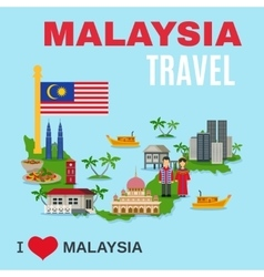 Malaysia culture travel agency flat poster vector