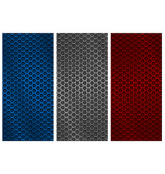 metal perforated backgrounds blue silver and red vector image vector image