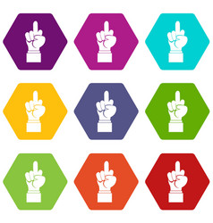 Middle finger hand sign icon set color hexahedron vector
