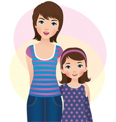 Mom and daughter vector image