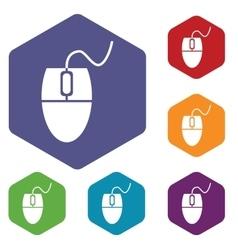 Mouse controller hexagon icon set vector image vector image
