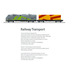 Poster locomotive with orange cargo container vector