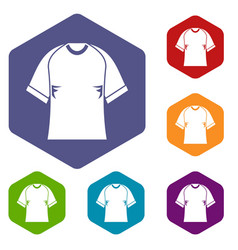 Raglan tshirt icons set hexagon vector