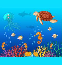 Sea animals swimming under the ocean vector