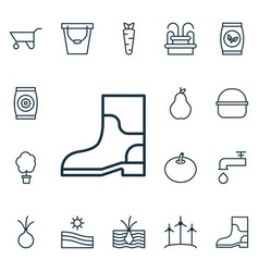 Set of 16 plant icons includes grains pail vector