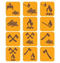 Set of campfire ax firewood icons vector