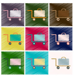 set of flat icons in shading style suitcase on vector image