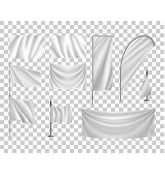 Set white flags banners streamers transparent vector