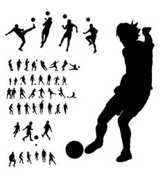soccer silhouettes collection vector image vector image