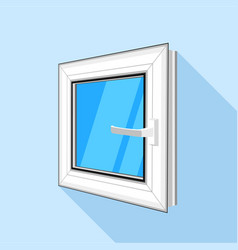 Square plastic window with blue sky glass icon vector