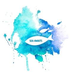 Watercolor blue texture vector