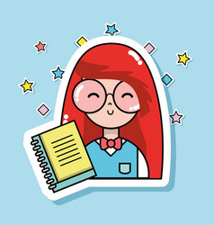 Woman student with glasses and notebook to learn vector