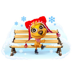 yellow dog puts on skates winter vacation vector image