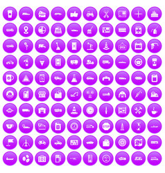 100 gas station icons set purple vector