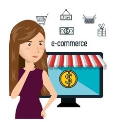 Cartoon woman e-commerce monitor pc isolated vector