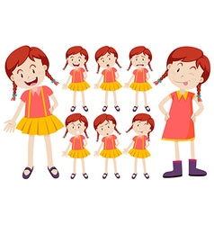 Girl with different facial expressions vector