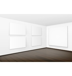 Pictures on Walls with Wooden Floor in Gallery vector image