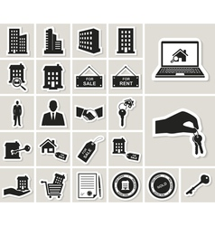Houses and real estate stickers icons set vector