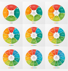 Set of 4-12 circle chart infographic templates vector