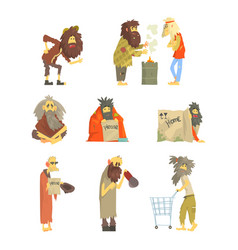 Set of homeless people characters in dirty torn vector