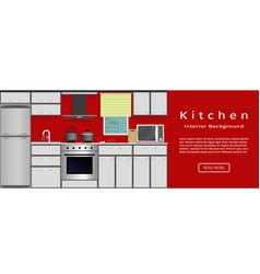 Modern kitchen interior banner for your web vector