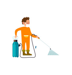 Farmer with knapsack sprayer isolated icon vector