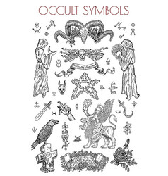 Graphic set with occult symbols and vector