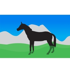Horse walks eats the grass  eps10 vector
