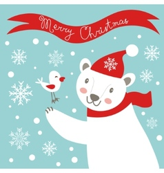 Christmas card with white bear vector image